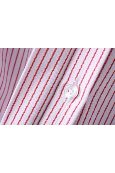 Long Down Side Lapel Split Collar Buttons Flared Striped Shirt Sleeve IwIR7qC