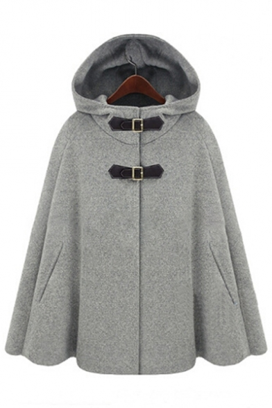 New Fashion Plain Hooded Buttons Down Long Sleeve Cape Coat
