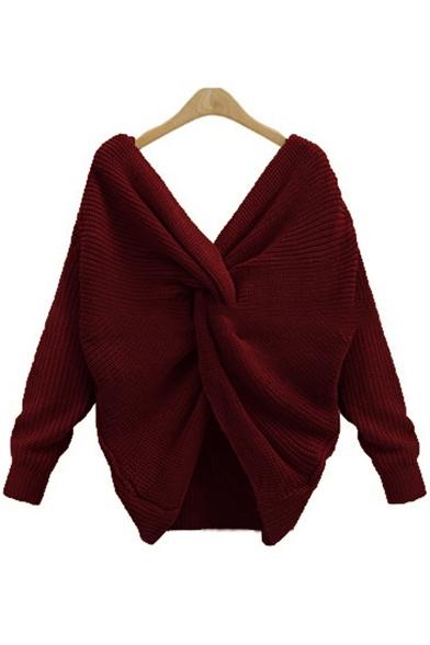 New Fashion Plain V-Neck Crisscross Back Long Sleeve Pullover Sweater