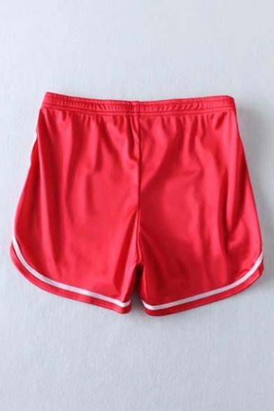 New Stylish Color Block Striped Trim Dipped Hem Elastic Waist Sport Shorts