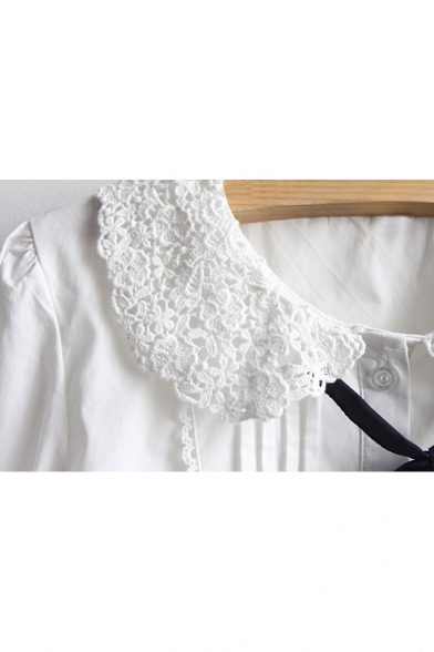 Embellished Chic Tie Plain Long Cut Bow out Sleeve Collared Shirt qXH7Xvrxw