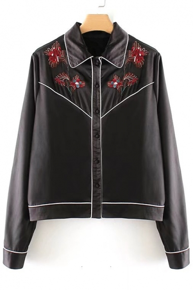 Baycheer / Chic Floral Embroidered Lapel Collar Long Sleeve Buttons Down Shirt