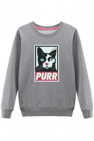 Cat Round Color Neck Pullover Sweatshirt Block Sleeve Long Cartoon Printed xIwTKPEqAT