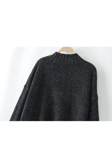 Neck Pullover Block Color Cuff Long Sleeve Sweater Comfort Mock HtxqPwxT