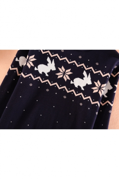 Neck Sweater Dot Sleeve Print Polka Round Long Rabbit Pullover Fashion nXqA4wBx