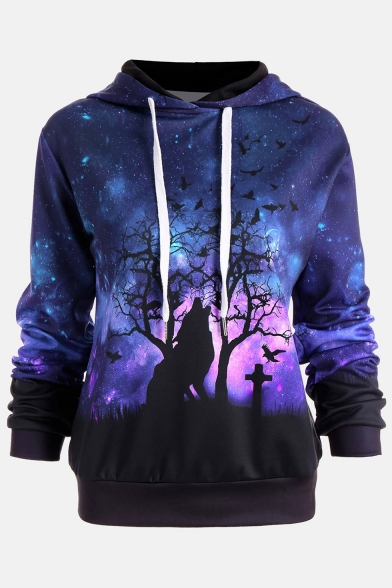 New Arrival Wolf in Starry Night Printed Long Sleeve Hoodie