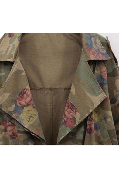 Camouflage Jacket Batwing Rose Long Sleeve Notch Lapel New Pattern Fashion z71W7Fg