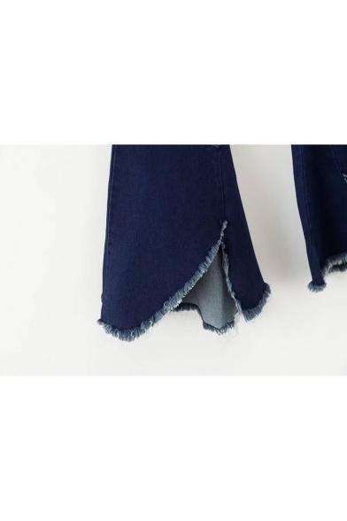 New Fashion Zipper Fly Raw Hem Asymmetric Flared Jeans