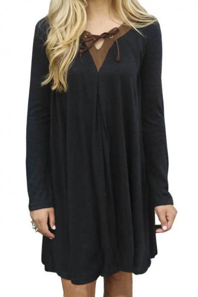 Simple Plain Contrast V-Neck Long Sleeve Shift Mini Dress