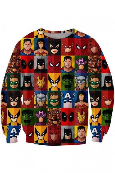 Check Sweatshirt Long Sleeve Pullover Super Panel Heroes Print 3D anqwS4pF