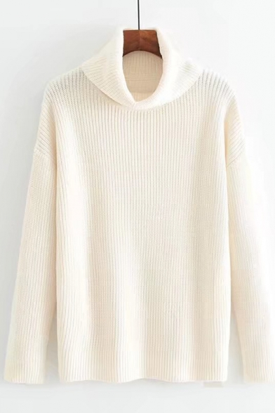 Pullover Sleeve High Basic Long Loose in Plain Neck Sweater Fit wqxFZ1X