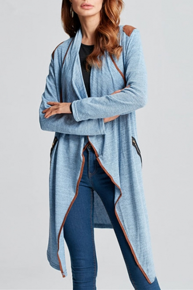 Chic Waterfall Collar Long Sleeve Patchwork Shoulder Open Front Plain Tunic Coat