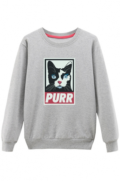 Cat Round Color Neck Pullover Sweatshirt Block Sleeve Long Cartoon Printed xIwTKPEqAT