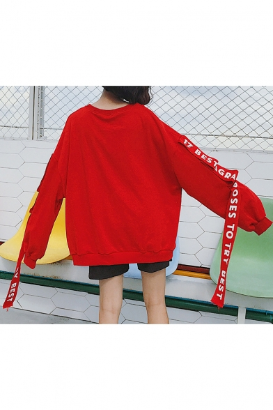 Belted Sweatshirt Fit Block Color Loose Print in Pullover Letter Long Sleeve wZ6AOCZq