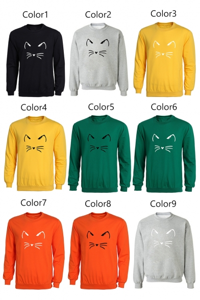 Round Neck Cartoon Cat Long Pullover Sleeve Sweatshirt Cute qCE4pt