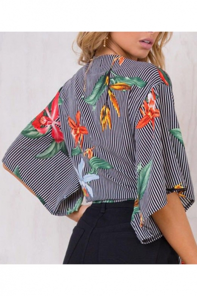 Deep Striped Neck Blouse V Pattern Knot Cropped Front Floral 5EwqzpaWz