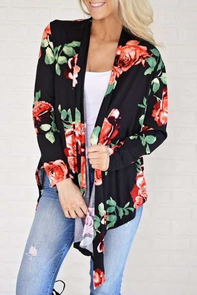 Stylish Sleeve New Print Opulent Coat Kimono Bloom Long Pzz7axqA