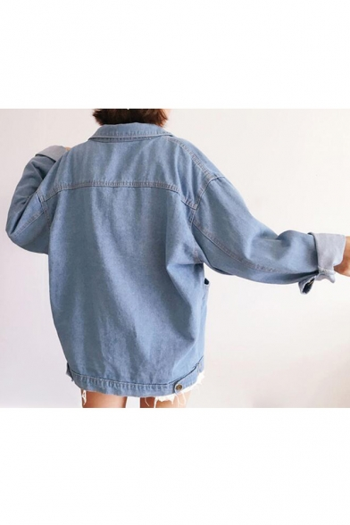 Coat Denim Plain Lapel Long Down Buttons Simple Sleeve Loose T7gPwRq