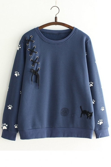 Cartoon Cat Embroidered Long Sleeve Round Neck Pullover Casual Sweatshirt