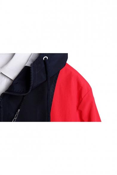 Chic Letter Print Color Block Zipper Long Sleeve Loose Unisex Hooded Coat