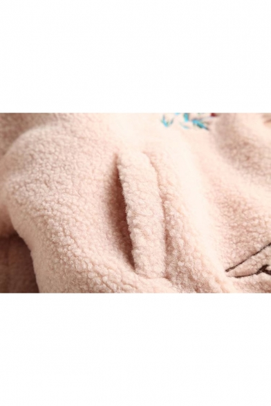 Fashion Embroidery Pattern Stand-Up Collar Long Sleeve Fluffy Coat