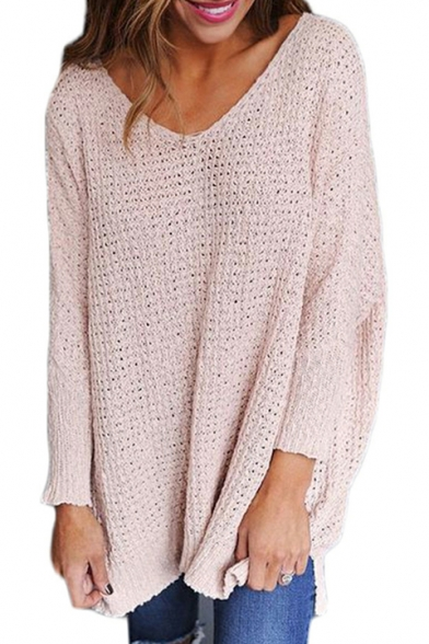 V Textured Fit Sweater Long Neck Sleeve Fashion Detail Loose Pullover 6ERw0d