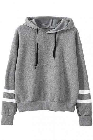 New Stylish Drawstring Hood Stripe Print Long Sleeve Hoodie