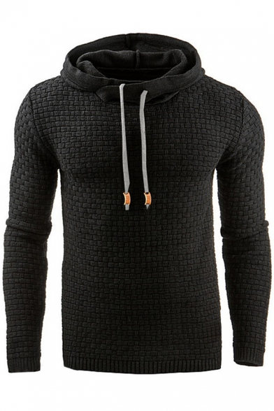 Long Leisure Pullover Simple Sleeve Jacquard Hoodie nqB4x8CxEw