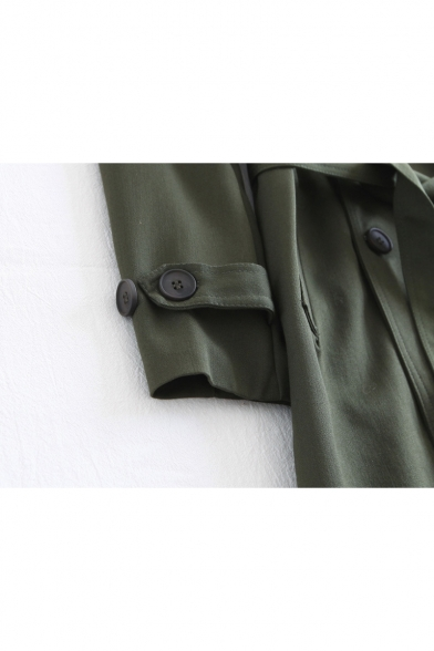 Breasted Simple Lapel Tunic Notched Coat Plain Belted Double Waist wcwPOUpq