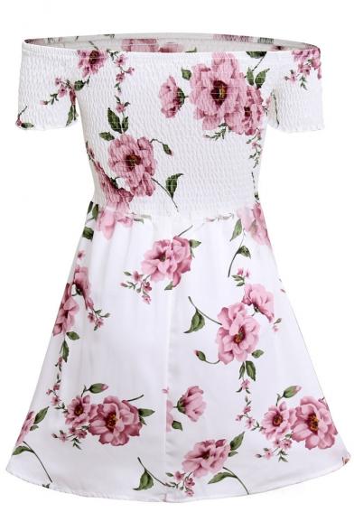 Chic Floral Pattern Off-the-Shoulder Short Sleeve Skater Mini Dress