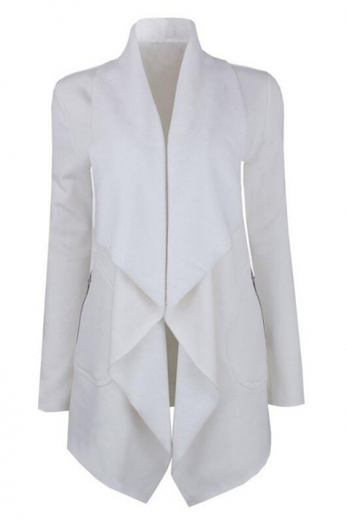 Chic Plain Waterfall Collar Open Front Long Sleeve Coat