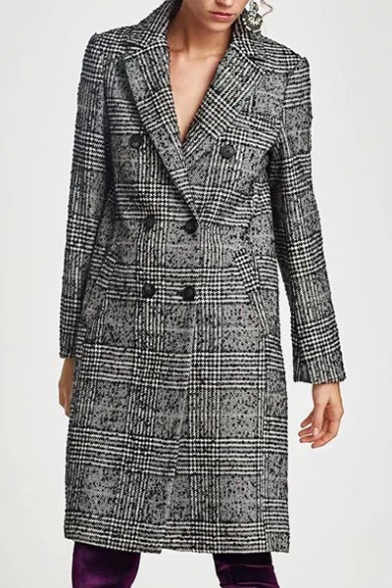 Coat Plaid Double Notched Breasted Print Tunic Lapel Classic B6fqCf