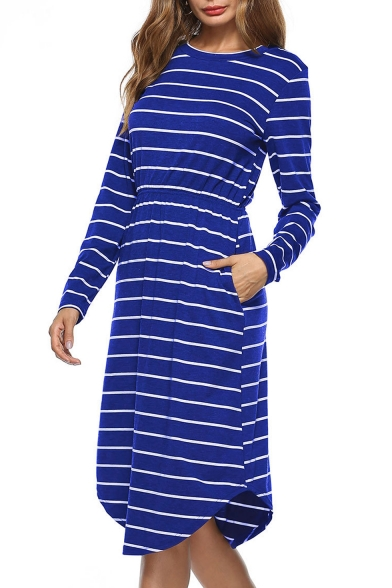 Color Block Striped Pattern Elastic Waist Round Neck Long Sleeve T-shirt Midi Dress