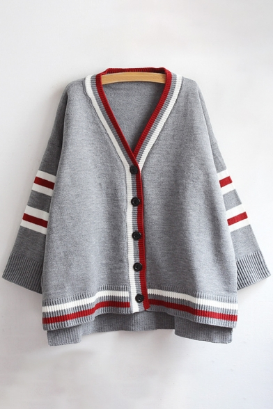 Color Block Striped Trim Dipped Hem Ribbed Long Sleeve Cardigan
