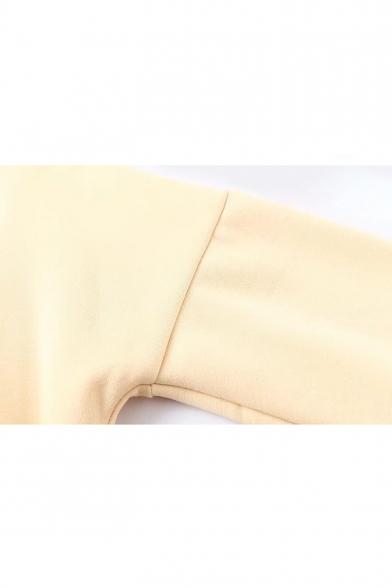 Cuff Drawstring Cartoon Pattern Drop Hood Hoodie Sleeve Pocket Cute Contrast S1q0wUgg