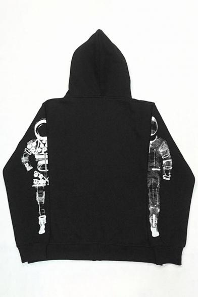 Fashion Astronaut Print Long Sleeve Zipper Unisex Coat