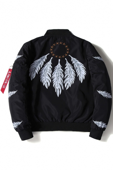 Print Long Feather Stand Leisure Up Bomber Sleeve Fashion Jacket Zipper Collar 7XP5qxw5a