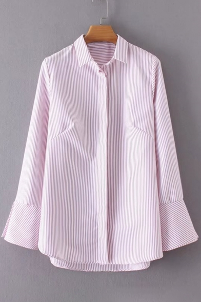 Down Striped Shirt Collar Buttons Long Side Lapel Split Flared Sleeve A61xqACZw