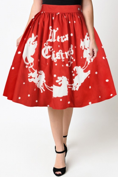 New Fashion Digital Christmas Theme Printed High Rise Midi Flared Skirt