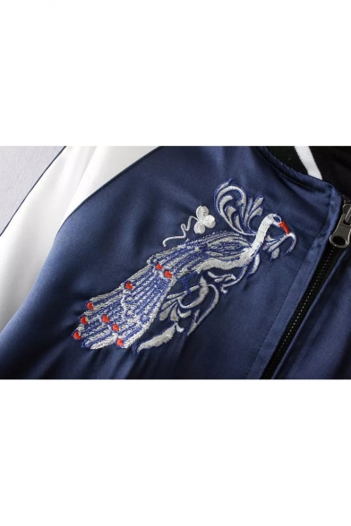 New Stylish Reversible Embroidery Peacock Pattern Stand-Up Collar Jacket