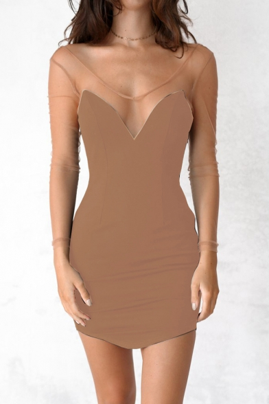 Bodycon Long Panel Mesh Sleeve Sheer Sexy Dress Short Neck Bardot xqZwAIXI