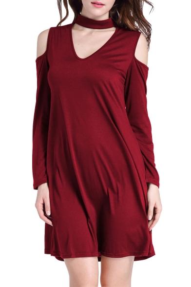 Simple Plain Chocker Neck Cold Shoulder Long Sleeve Shift Mini Dress