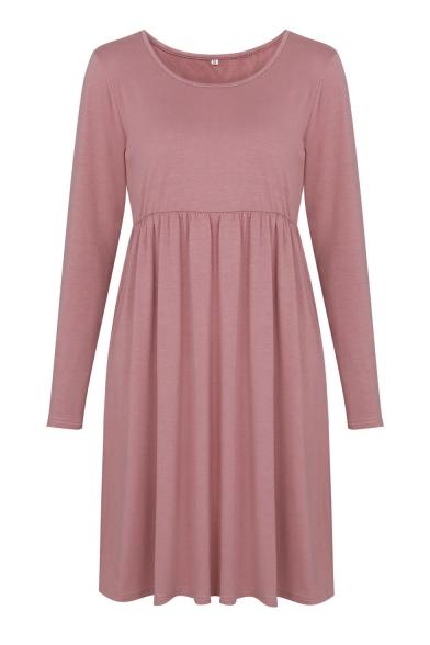 Simple Plain Scoop Neck Long Sleeve T-shirt Mini Dress