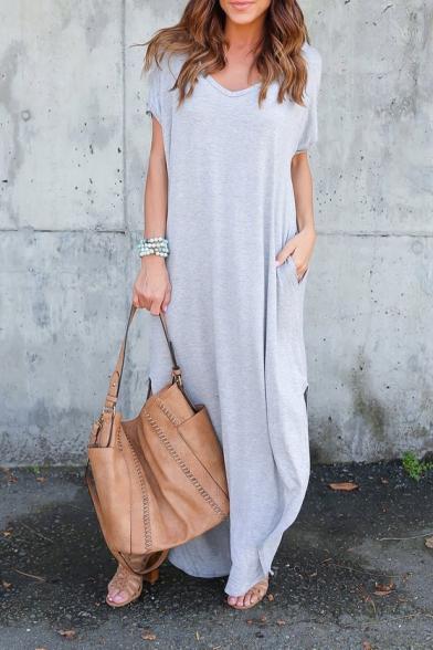 Maxi Sleeve Plain V Dress Split Short Side Neck Simple 6xZqvSwO6