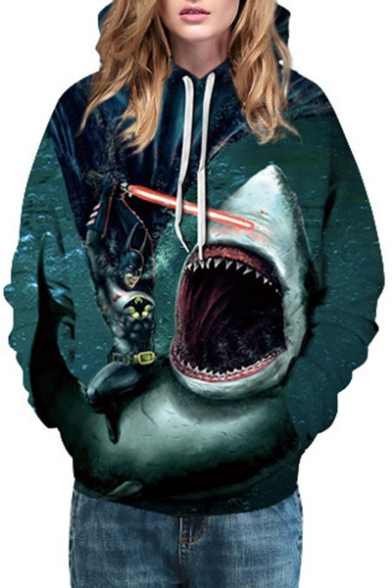 Shark Sports Pattern Fighting Hoodie Stylish Unisex Casual Batman EwqBnWSf