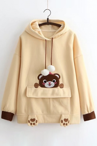 Cuff Drawstring Cartoon Pattern Drop Hood Hoodie Sleeve Pocket Cute Contrast S1q0wUgg