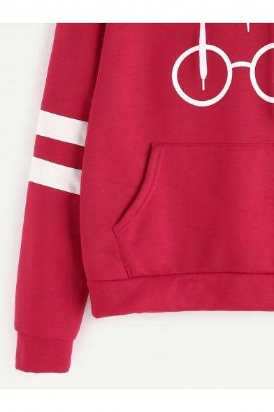 Fashion Print Drawstring Hood Stripe Embellished Long Sleeve Pocket Hoodie
