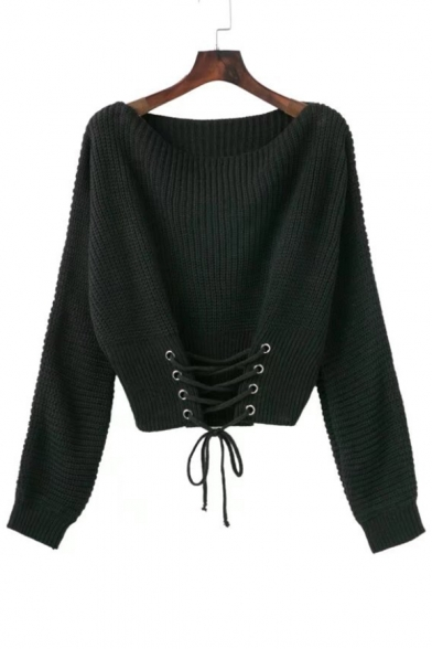 New Stylish Lace-Up Front Round Long Sleeve Plain Loose Pullover Sweater
