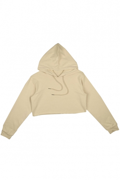 Drawstring Sleeve Cropped Long Hoodie Plain Hood Simple OSxI5XW