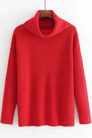 Neck Basic Fit Sleeve High in Loose Long Sweater Pullover Plain EEOqwAH4